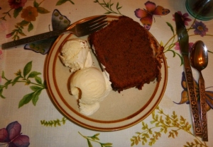 Chocolate-Coconut Pound Cake with vanilla ice cream.