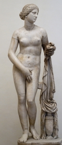 A 4th century BC sculpture of the goddess Aphrodite, goddess of love, beauty, procreation, and sexuality. It is one of the most famous works by the Attic sculptor Praxiteles.