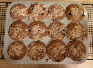 The recipe said it made twelve muffins. Here are all the muffins still in the pan.