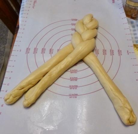 braiding of challah bread